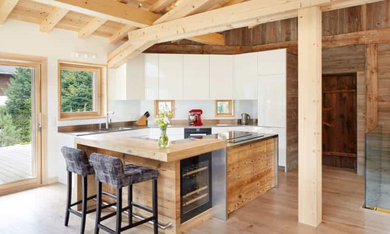 an elegant kitchen in a chalet