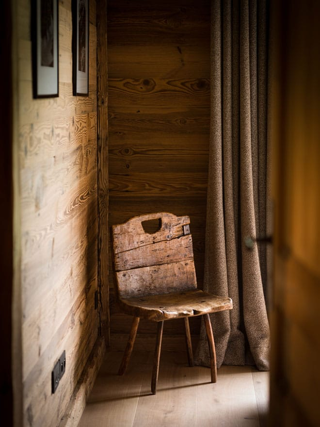 image of a wooden ski cabin chair