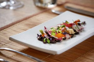 image of a black pudding crumble salad