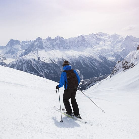 image of man skiing down a slope