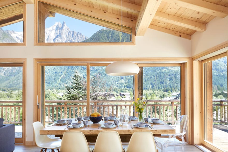 image of a chalet dining area in chamonix
