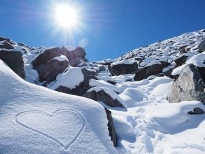 image of a sunny snowy mountain
