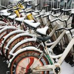 image of bikes with snow on them
