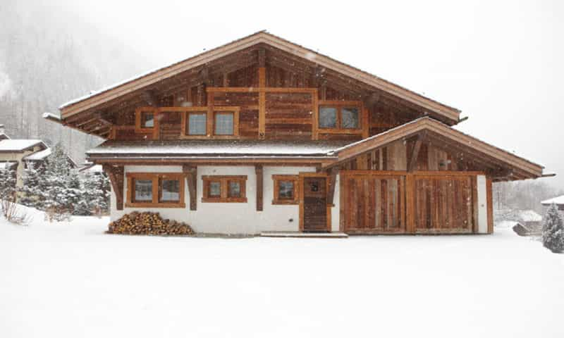 Our Argentiere Chamonix Ski Chalet in Full View During a Snow Day