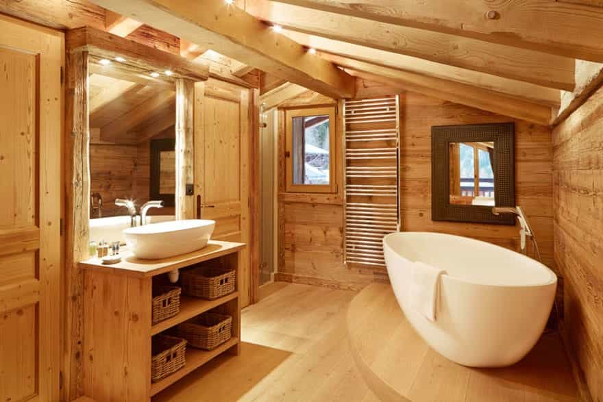 beautiful bathroom for after day of skiing on slopes in luxury ski chalet