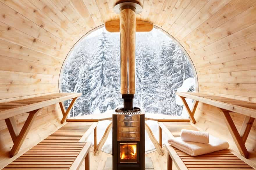 outdoor sauna with beautiful views of the ski slopes in the French Alps.