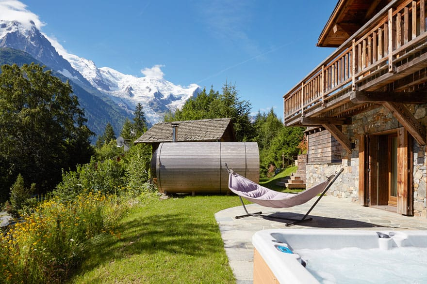 image of lower terrace of eco lodge chalet