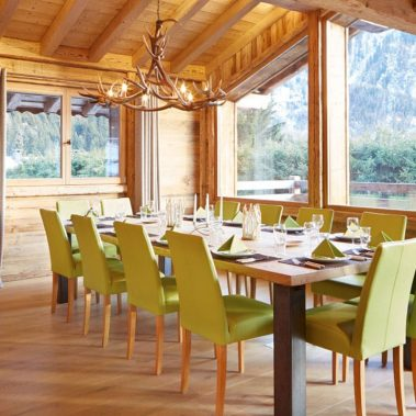 image of a dining table within luxury ski chalet