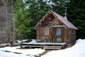 cabin in a snowy location