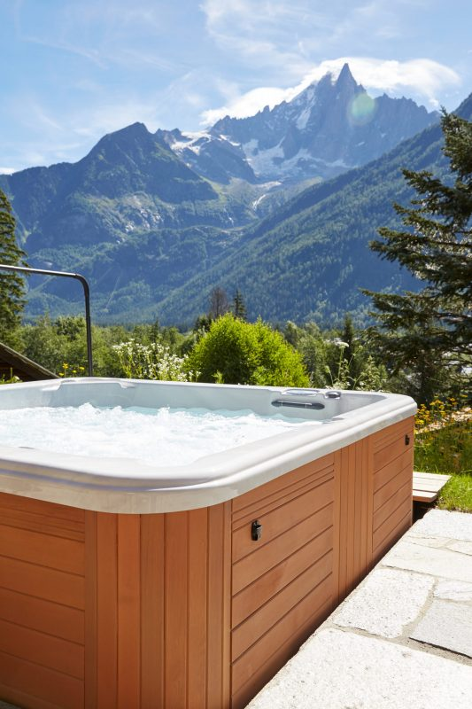 Chalet with outdoor jacuzzi with view of le Dru - Chamonix Mont-Blanc