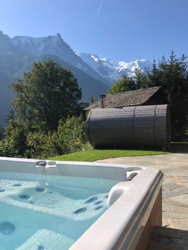 View of Mont Blanc from hot tub at chalet Marmotte Mountain Eco Lodge