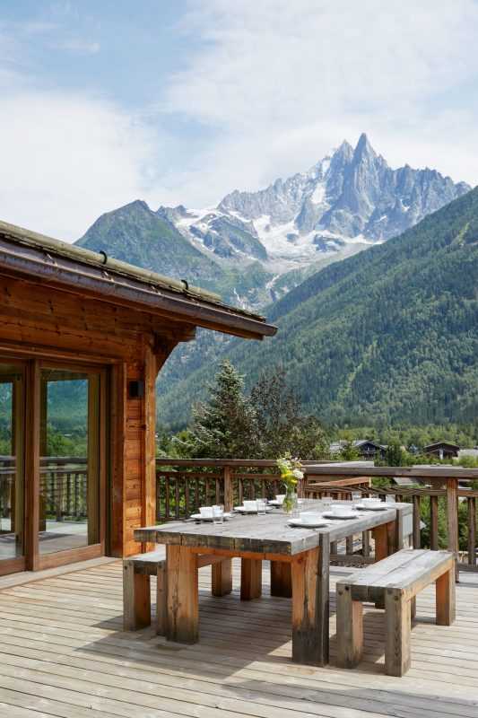 Outdoor dining with a view in Chamonix - chalet Marmotte Mountain Eco Lodge