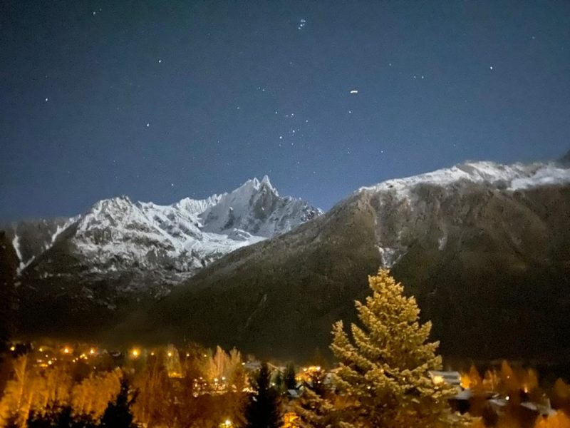 Night view of Chamonix from chalet Marmotte Mountain Eco Lodge